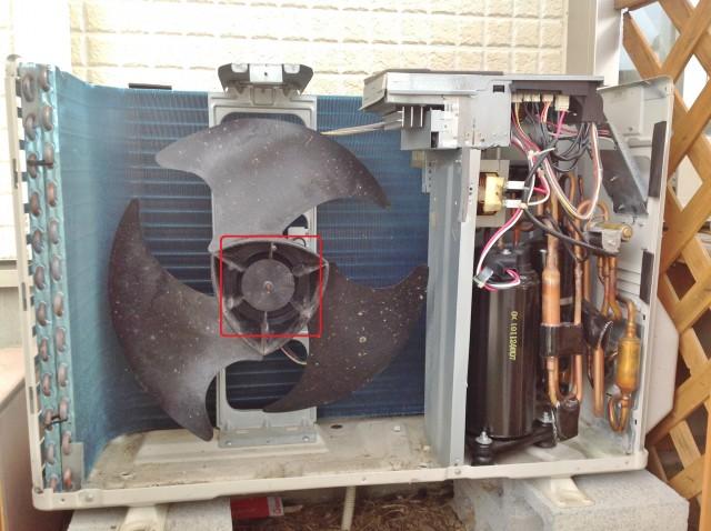 エアコン室外機のファンモーターの故障