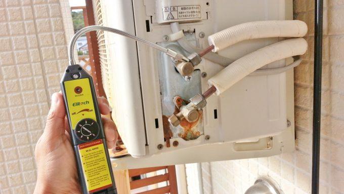 冷媒ガス漏れを検知するリークディテクター