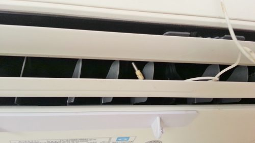 エアコンの吹き出し温度を測定