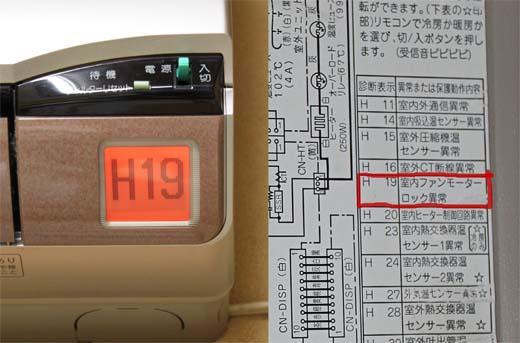 エアコンのエラー表示室内機の液晶