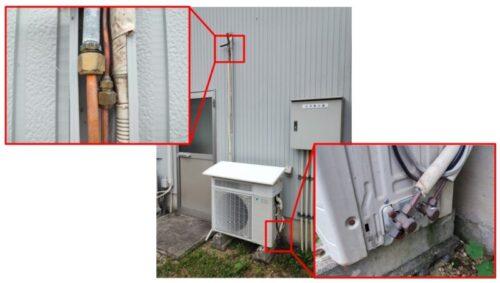 エアコンの配管継手部分