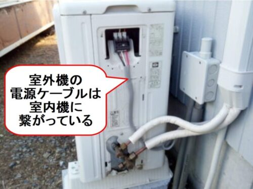 室外機の電源ケーブルは室内機に繋がっている