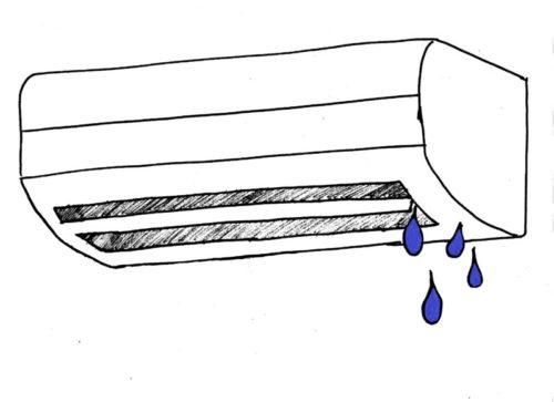 エアコン本体不良が原因で吹出口右側から水滴が落ちてくる